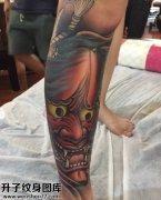 男性小腿传统彩色般若纹身图案大全