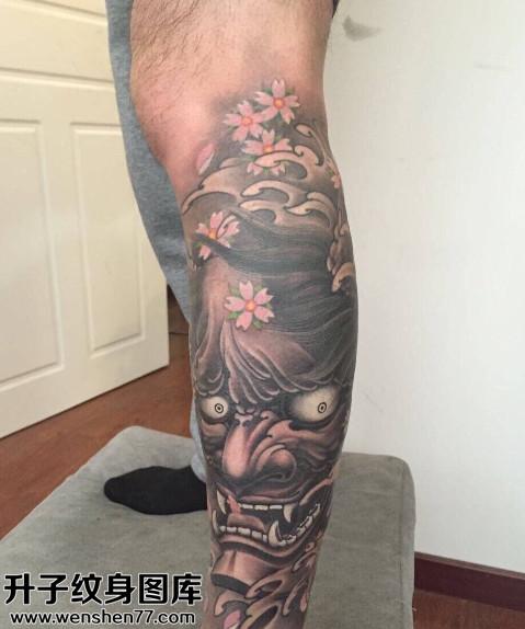 男性小腿传统般若纹身图片大全