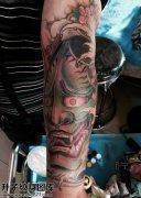 男性小臂传统般若纹身图片大全