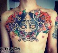 男性胸口传统般若牡丹纹身图案大全