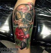 男性小臂欧美骷髅玫瑰纹身图片大全