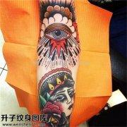 重庆纹身 男性大臂欧美眼睛纹身图案大全