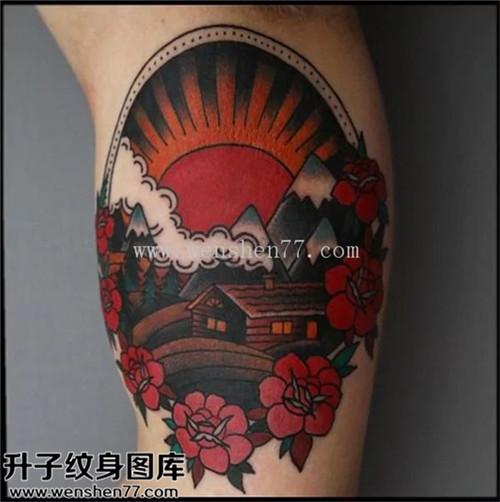 男性大臂欧美彩色花房屋太阳纹身图案大全