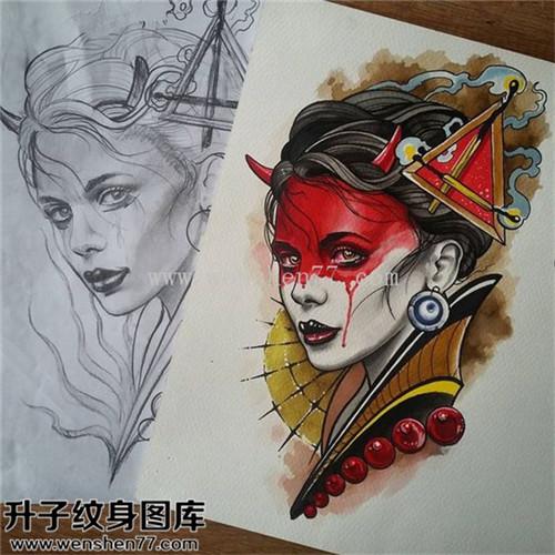 纹身手稿欧美艺妓纹身图案大全