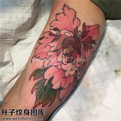 男性小腿彩色传统牡丹纹身图片大全