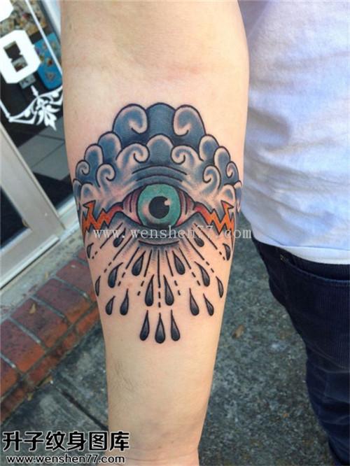 男性小臂欧美眼睛纹身图片大全