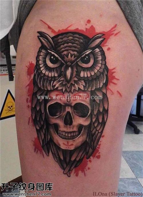 女性大腿欧美骷髅猫头鹰纹身图案大全