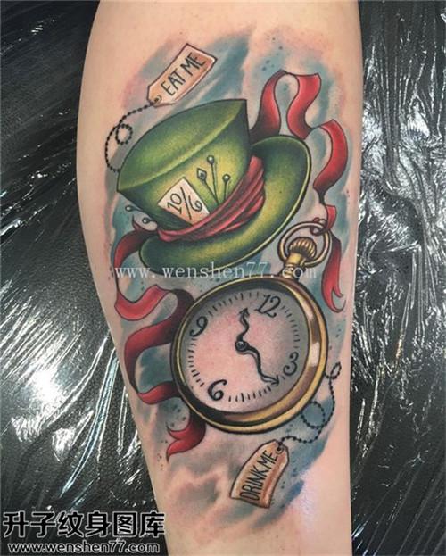 男性小腿欧美时钟帽子纹身图案大全