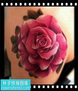 女性大臂欧美彩色玫瑰纹身图片大全
