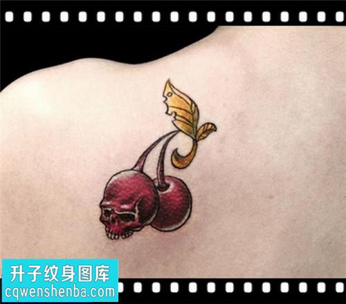 女性后背小清新骷髅樱桃纹身图案大全