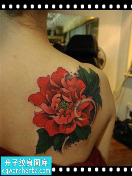 女性后背传统彩色牡丹纹身图片大全