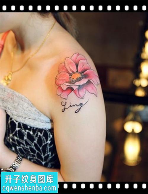 女性肩膀传统彩色荷花纹身图案大全