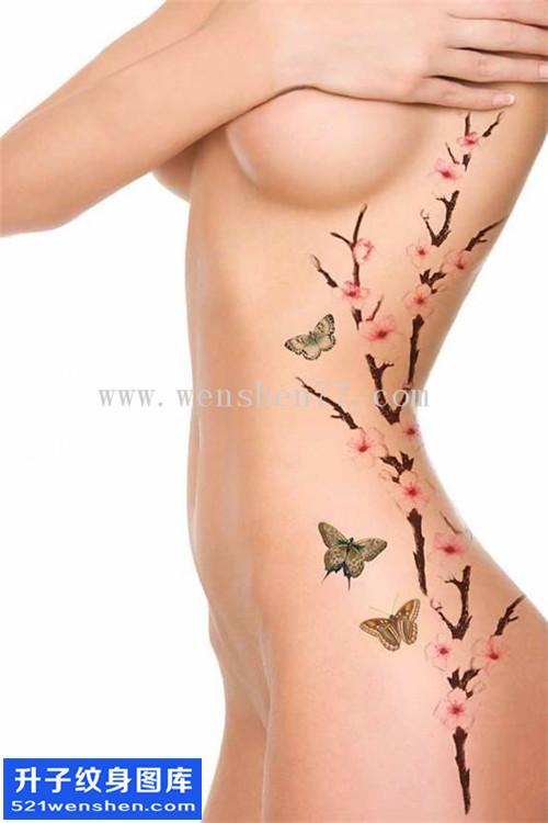 女性侧腰水墨梅花蝴蝶纹身图案大全