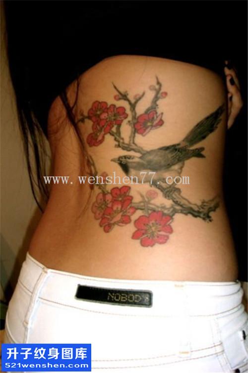 女性侧腰水墨鸟纹身图片大全