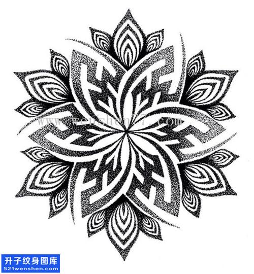 纹身手稿梵花点刺纹身图片大全