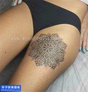 女性大腿梵花纹身图片大全