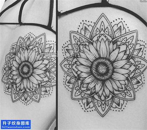 女性后背梵花菊花点刺纹身图案大全