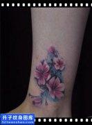 女性脚踝彩色欧美花纹身图片大全