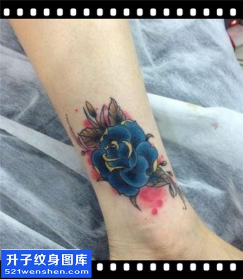 女性脚踝欧美彩色玫瑰纹身图片大全