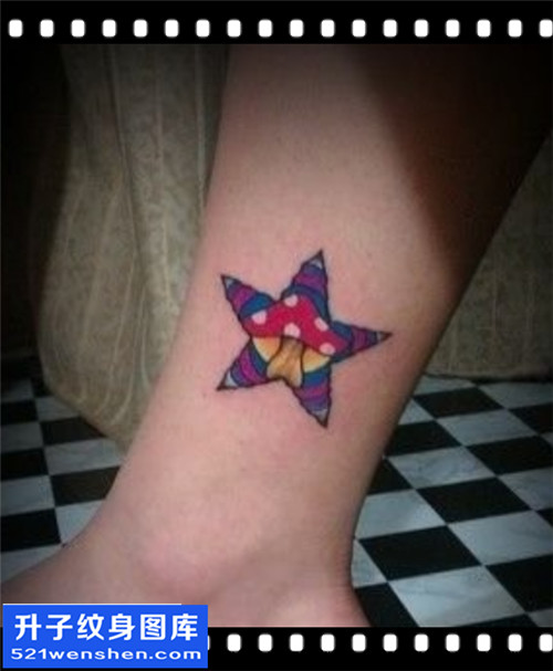 女性欧美彩色脚踝五角星纹身图片大全