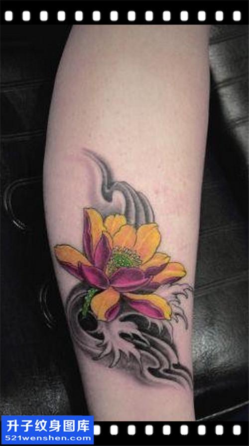 女性小腿彩色传统荷花纹身图案大全