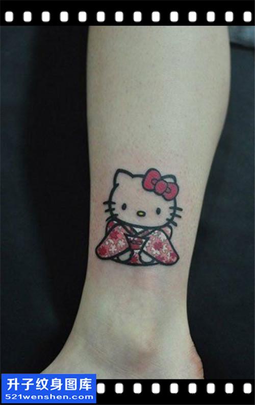 女性脚踝小清新猫咪纹身图案大全