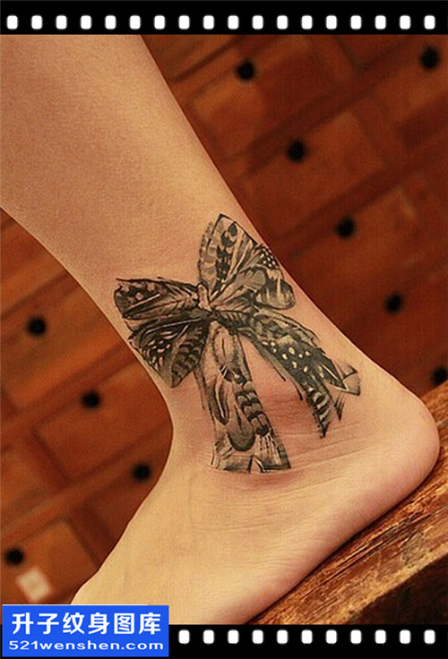 女性脚踝欧美蝴蝶结纹身图案大全