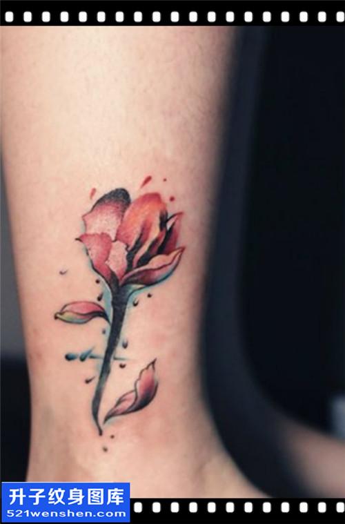 女性脚踝欧美彩色花纹身图片大全