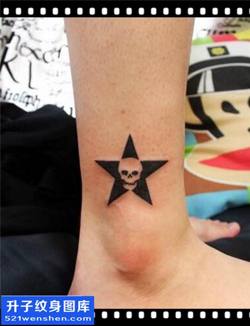 女性脚踝图腾骷髅纹身图案大全