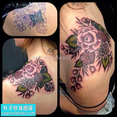 女性后背肩膀遮盖欧美玫瑰图片大全