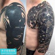 男性大臂半甲欧美遮盖纹身图案大全