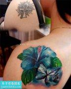 重庆修改纹身哪里好 女性后背遮盖欧美花纹身图