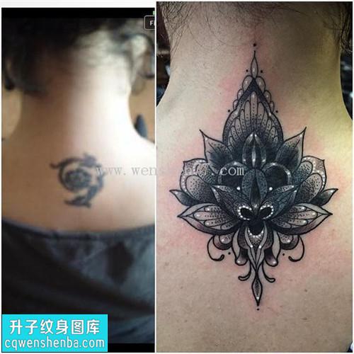 女性脖子遮盖欧美梵花纹身图案大全