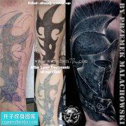 男性小臂欧美遮盖人物纹身图案大全