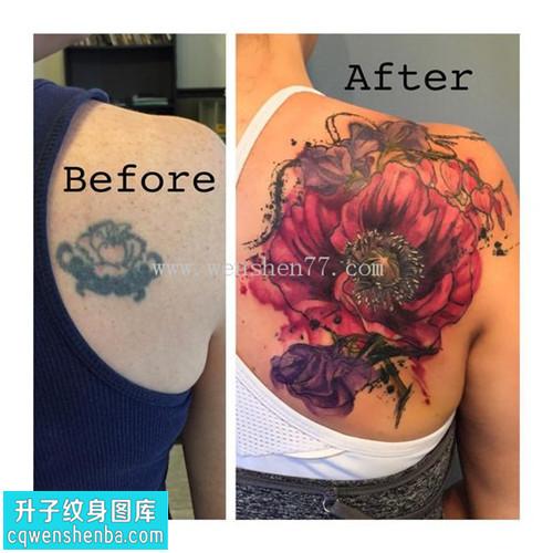 女性后背遮盖欧美花纹身图案大全