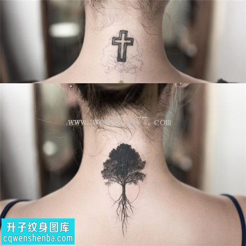 女性脖子欧美植物遮盖纹身图案大全