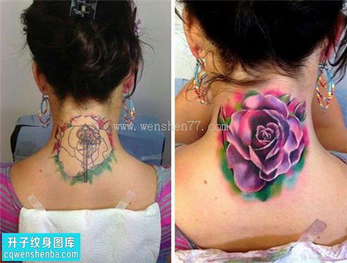 女性脖子遮盖欧美玫瑰纹身图案大全