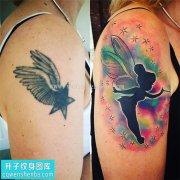 女性大臂欧美天使遮盖纹身图片大全