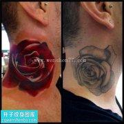 男性脖子欧美玫瑰遮盖纹身图案大全