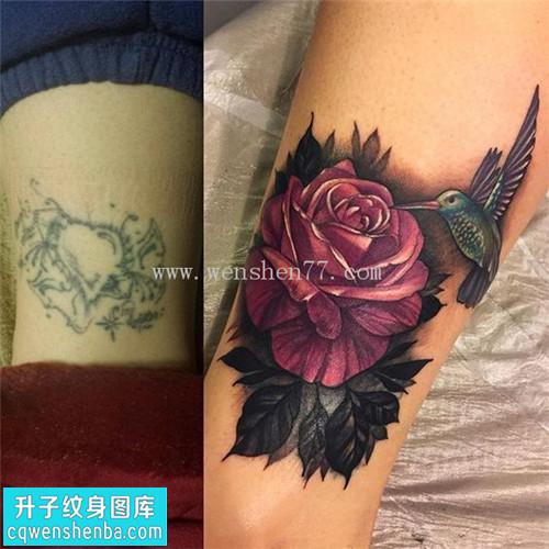 女性小腿欧美玫瑰遮盖纹身图案大全