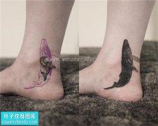 女性欧美脚踝鲸鱼遮盖纹身图案大全
