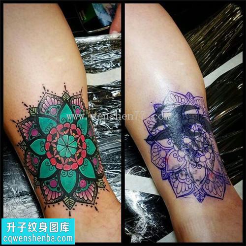 女性小腿欧美梵花遮盖纹身图片大全