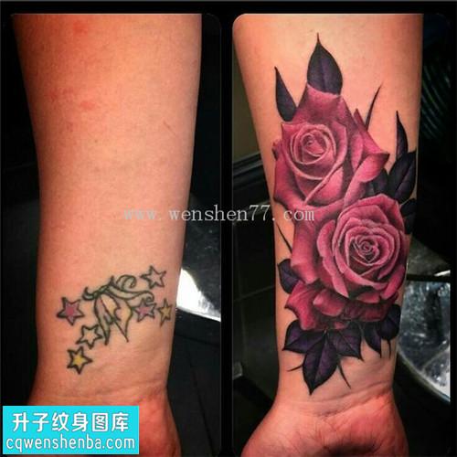 女性小臂欧美玫瑰遮盖纹身图案大全