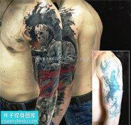 男性大臂欧美人物遮盖纹身图案大全