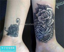 女性手腕欧美玫瑰钻石纹身图案大全