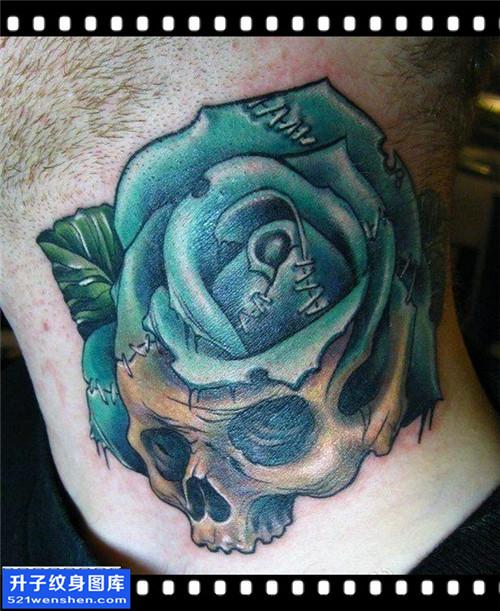 男性脖子欧美骷髅玫瑰纹身图片大全