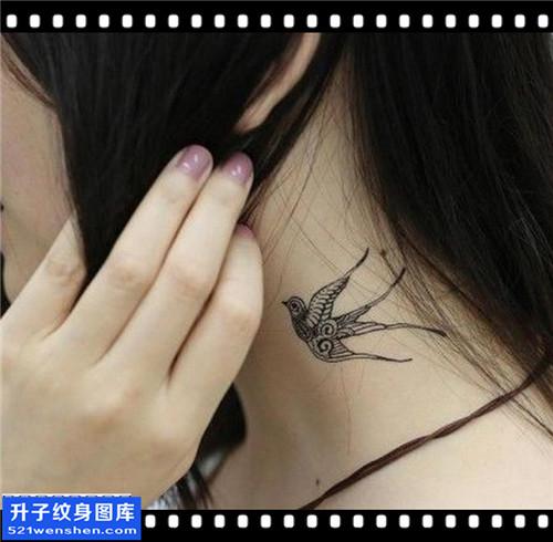 女性脖子图腾燕子纹身图案大全