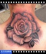 男性脖子欧美玫瑰纹身图案大全