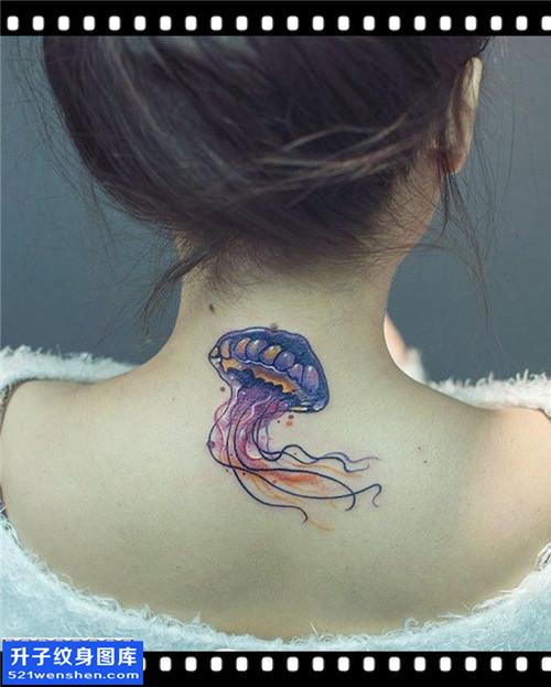 女性脖子彩色欧美水母纹身图案大全