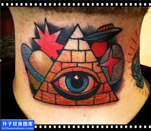 重庆纹身哪里好 男性脖子欧美眼睛星空纹身图片大全